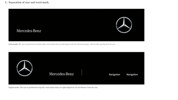 Mercedes Brand Book / Style Guide example
