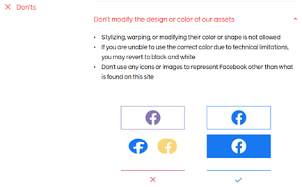 Facebook Brand Book / Style Guide example